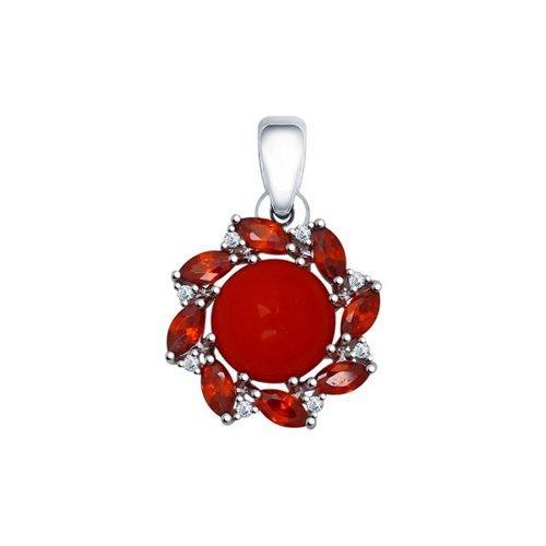 Подвеска из серебра с кораллом и красными фианитами