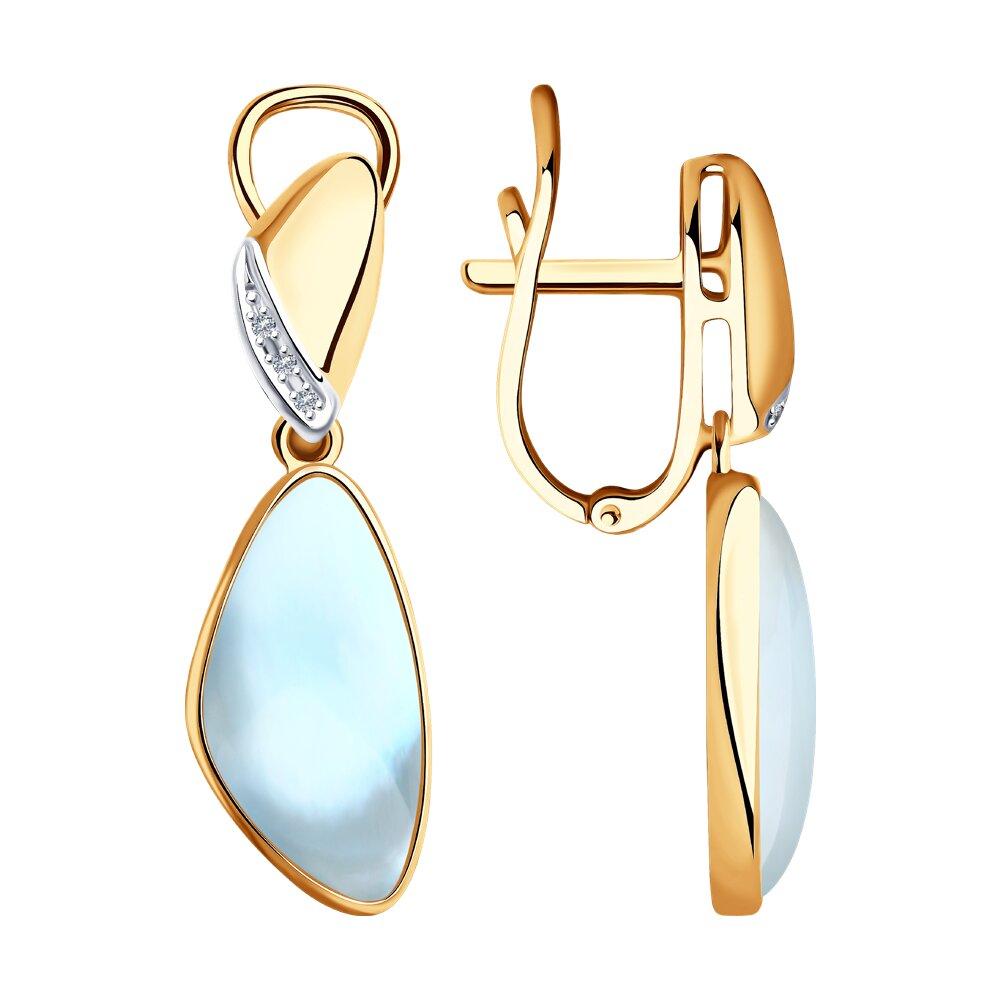 Серьги SOKOLOV из золота с бриллиантами и дуплетами из топаза и перламутра indira перуанские серьги из настоящего перламутра