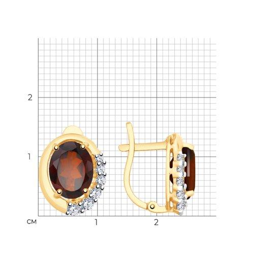 Серьги из золота с гранатами и фианитами 726179 SOKOLOV фото 2