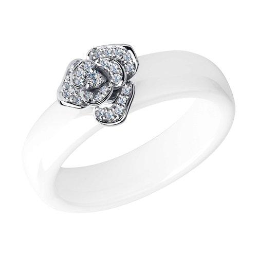 Кольцо из белого золота с бриллиантами и белыми керамическими вставками