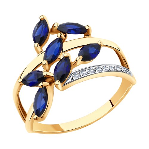 Кольцо из золота с синими корунд (синт.) и фианитами (715691) - фото
