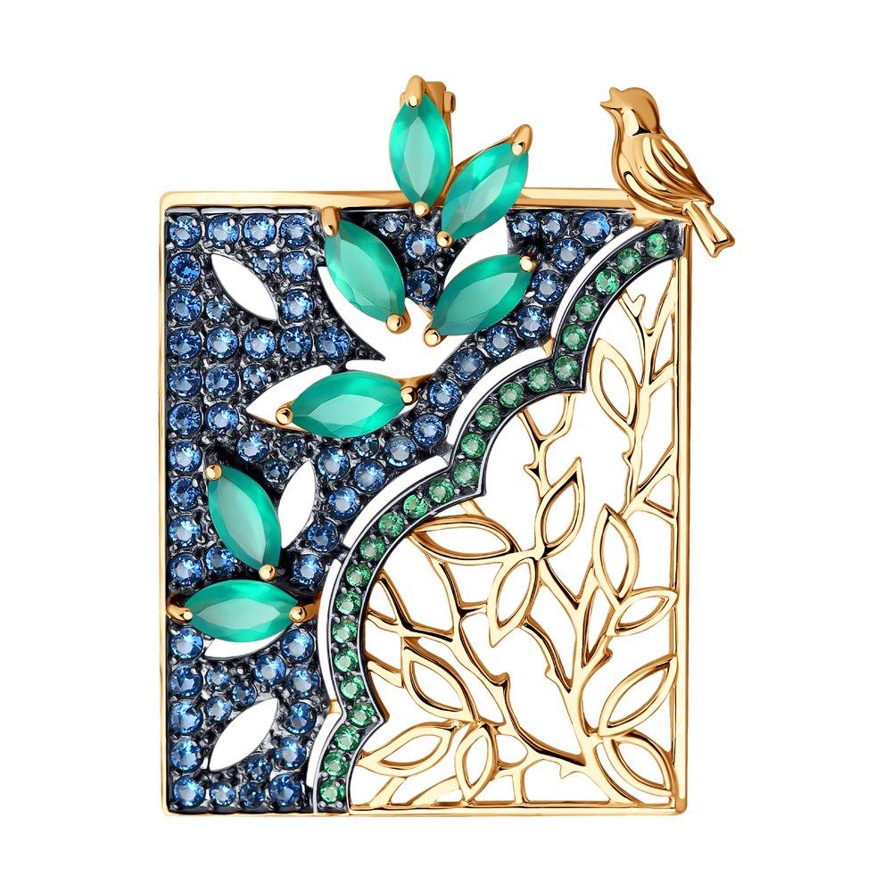 Подвеска SOKOLOV из золота с агатами и фианитами золотая подвеска в виде бабочки с агатами и фианитами sokolov