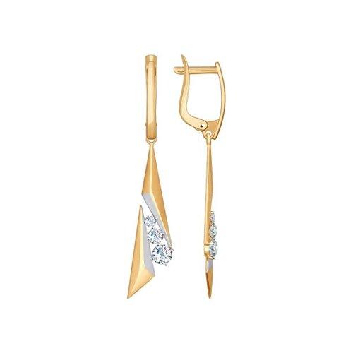 Серьги длинные SOKOLOV из золота с фианитами длинные серебряные серьги с фианитами sokolov