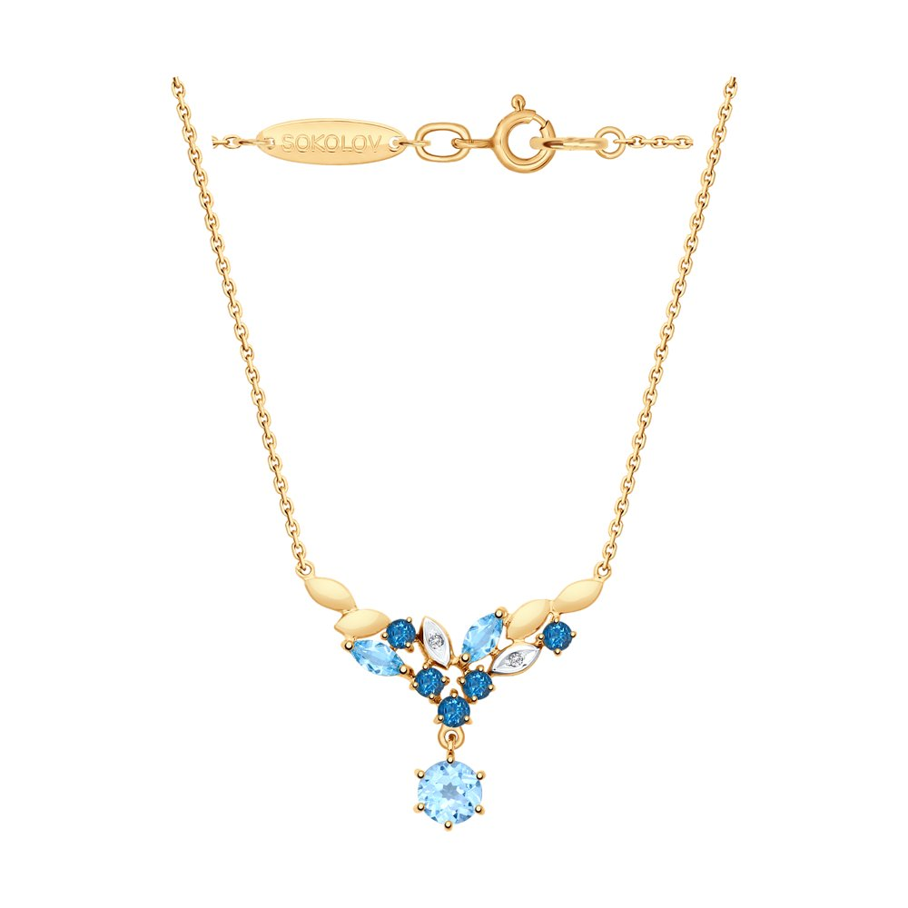 Колье SOKOLOV из золота с голубыми и синими топазами и фианитами фото