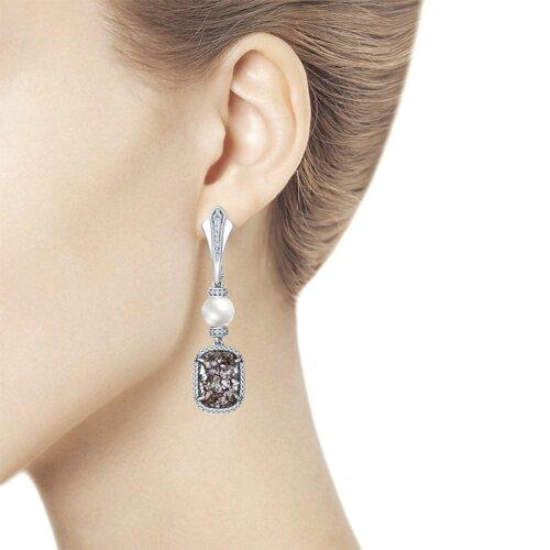 Серьги с жемчугом и кристаллами Swarovski  (94022147) - фото №3