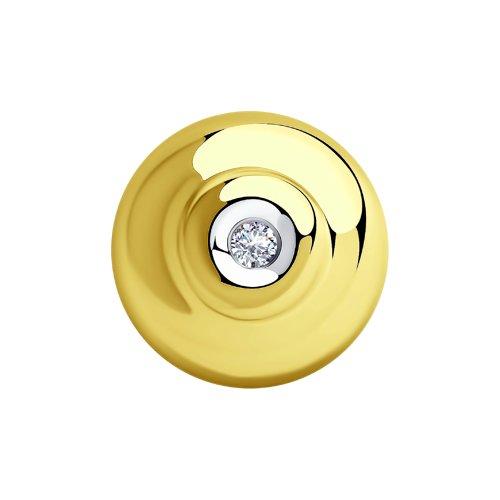 Подвеска из желтого золота с бриллиантом (1030509-2) - фото
