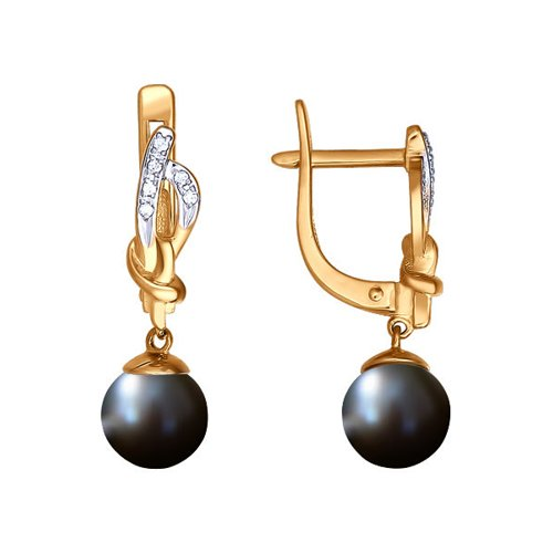 Золотые серьги с чёрным жемчугом SOKOLOV