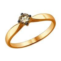 Кольцо из золота с коньячным бриллиантом