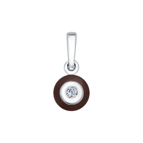 Подвеска из белого золота с бриллиантом и керамической вставкой цены онлайн