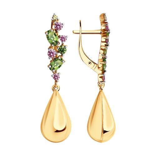 Серьги из золота с фианитами Swarovski (81020479) - фото