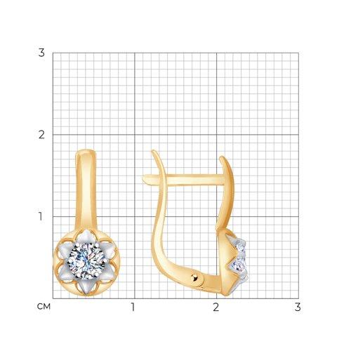 Серьги из золота с фианитами (027670) - фото №2