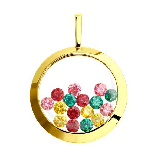 Подвеска из желтого золота с минеральным стеклом и жёлтыми, зелеными, красными и розовыми фианитами (034925-2) - фото