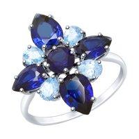 Кольцо из серебра с топазами и синими корундами