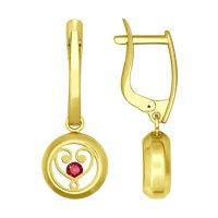 Серьги из желтого золота с минеральным стеклом и фианитами