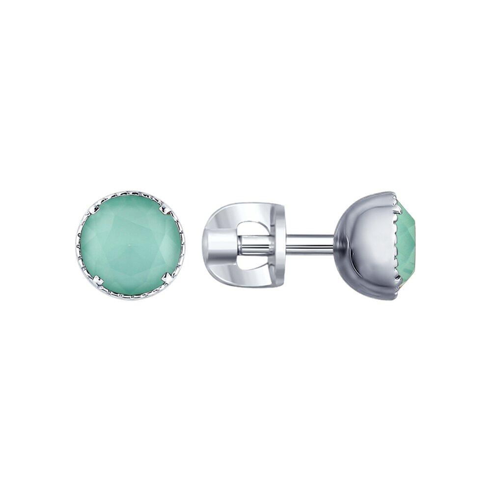 Серьги SOKOLOV из серебра с зелеными кристаллами Swarovski фото