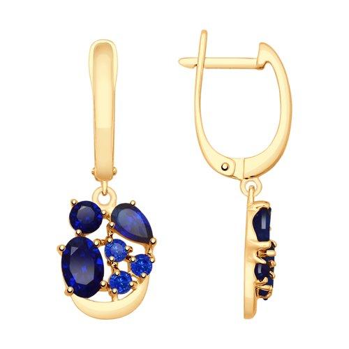 Серьги из золота с синими корундами (синт.) (725520) - фото