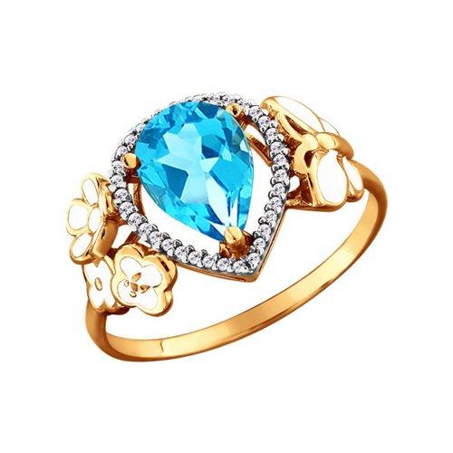 Кольцо из золота с эмалью с топазом и фианитами