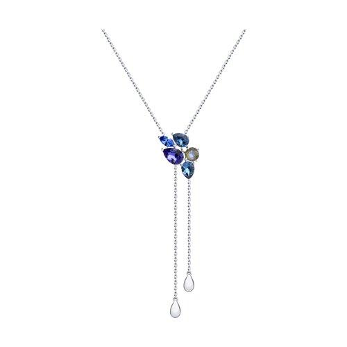 Колье из серебра с голубыми и синим кристаллами Swarovski 94070303