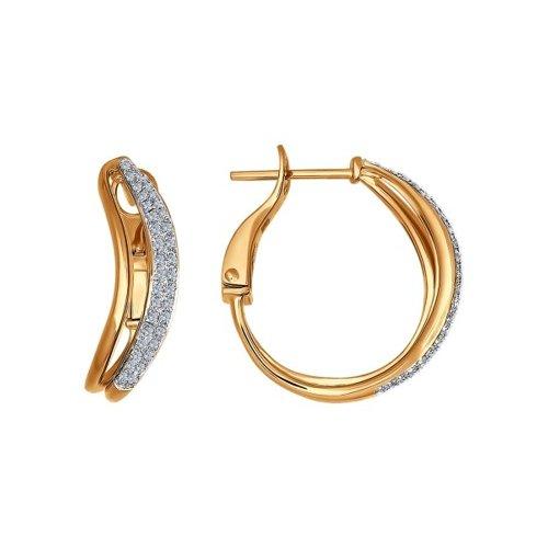 Серьги-колечки из золота c бриллиантами
