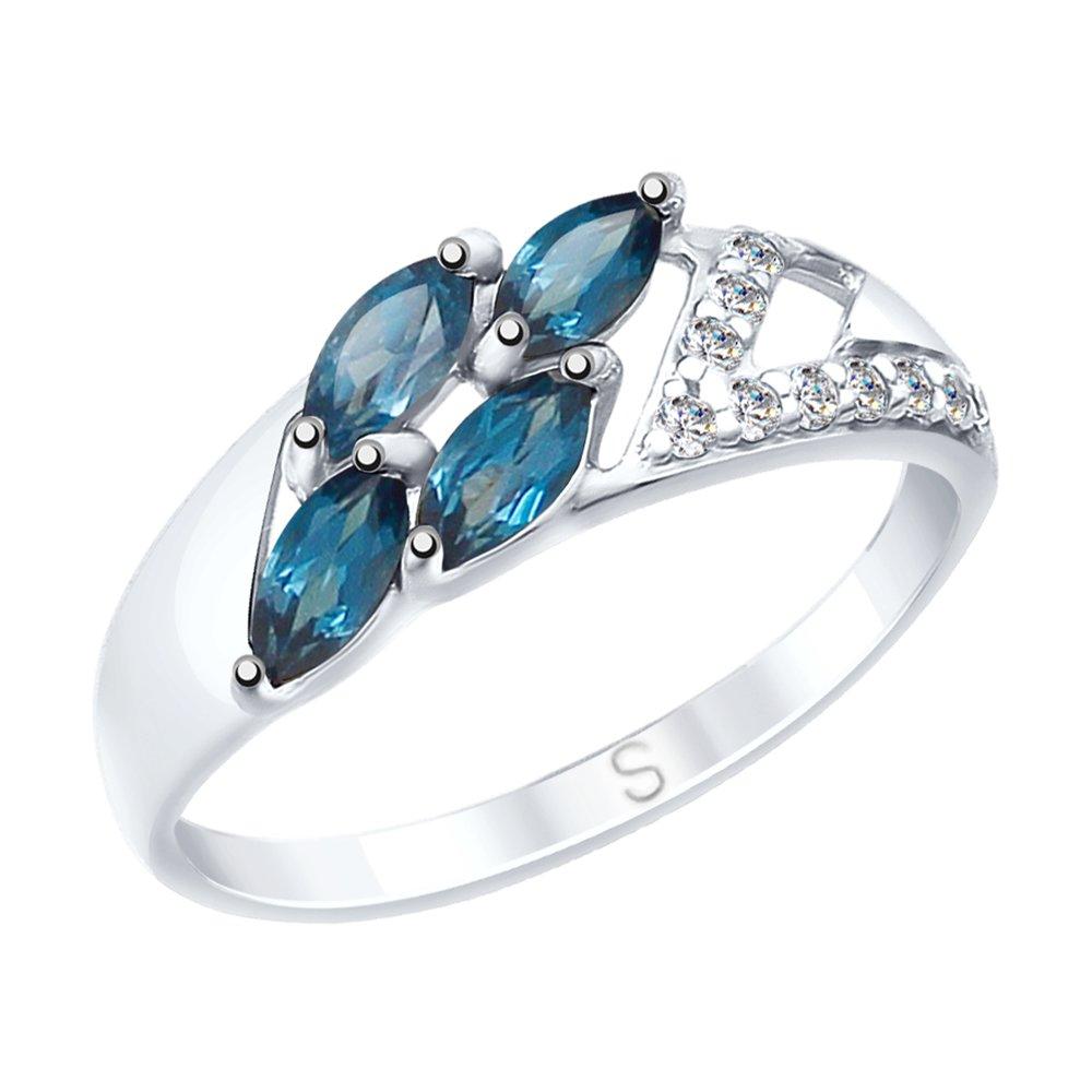 Кольцо SOKOLOV из серебра с синими топазами и фианитами фото