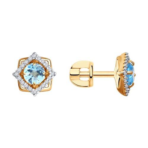 Серьги-пусеты из золота с голубыми топазами и фианитами