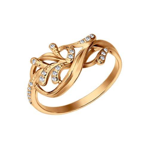 Позолоченное кольцо с фианитами SOKOLOV