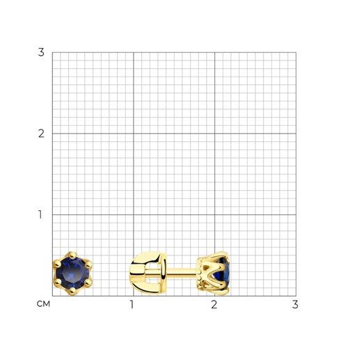 Серьги из желтого золота с синими фианитами (027628-2) - фото №2
