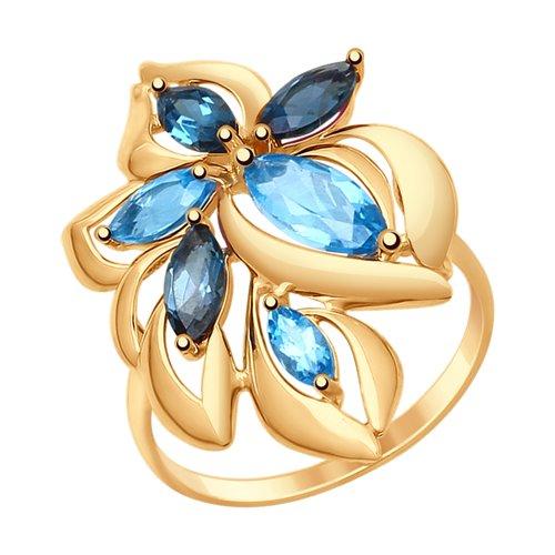 Кольцо из золота с голубыми и синими топазами (714763) - фото