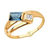 Кольцо из золота с синим топазом и Swarovski Zirconia