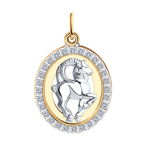 Подвеска знак зодиака Козерог из комбинированного золота с фианитами