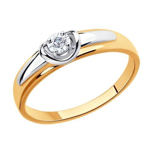Кольцо из комбинированного золота с алмазной гранью с бриллиантом (1011620) - фото