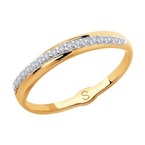 Кольцо из золота с фианитами (018136) - фото