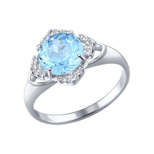 Кольцо из серебра с голубым ситаллом и фианитами