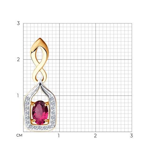 Подвеска из золота с бриллиантами и рубином 4030128 SOKOLOV фото 2