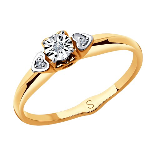 Кольцо из комбинированного золота с бриллиантами