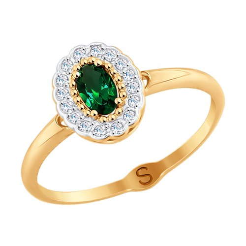 Кольцо из золота с фианитами (017812) - фото