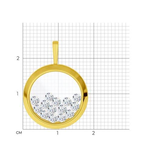 Подвеска из желтого золота с минеральным стеклом и фианитами 034926-2 SOKOLOV фото 2