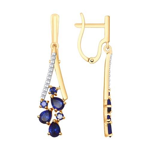 Серьги из золота с синими корунд (синт.) и фианитами (725692) - фото