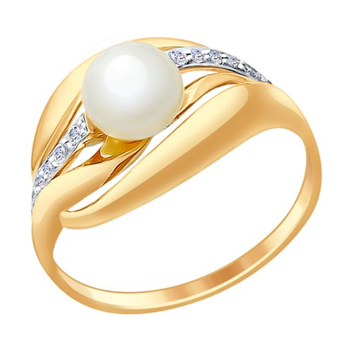 Кольцо из золота с жемчугом и фианитами (791041) - фото