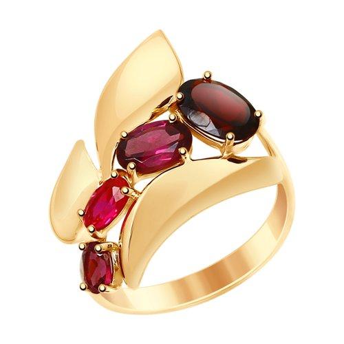 Кольцо из золота с миксом камней (714835) - фото