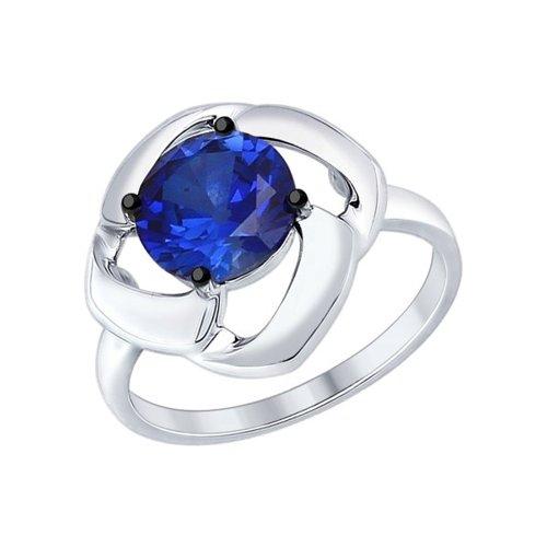 Кольцо из серебра с корундом сапфировым (синт.)