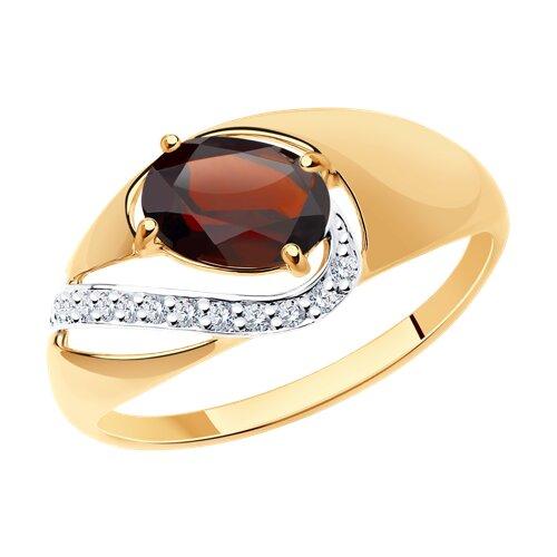 Кольцо из золота с гранатом и фианитами (714672) - фото