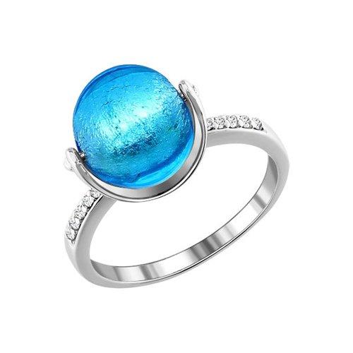 Серебряное кольцо с фианитами и муранским стеклом лазурного цвета SOKOLOV