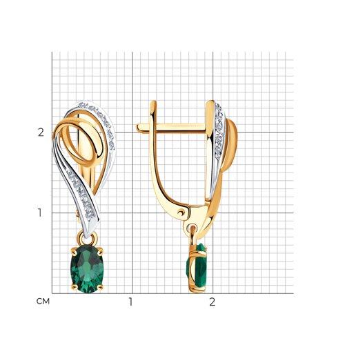 Серьги из золота с бриллиантами и изумрудами 3020455 SOKOLOV фото 2