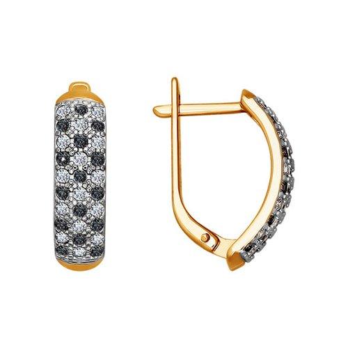 Золотые серьги с чёрными фианитами SOKOLOV