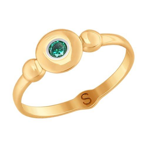 Кольцо из золота с фианитом (017739) - фото
