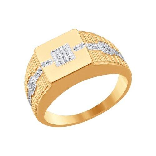 Мужское кольцо с фианитом (015869) - фото