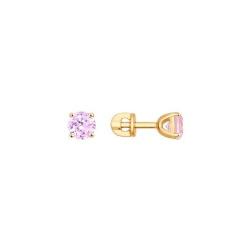 Серьги-пусеты из золота с розовыми фианитами (026925) - фото