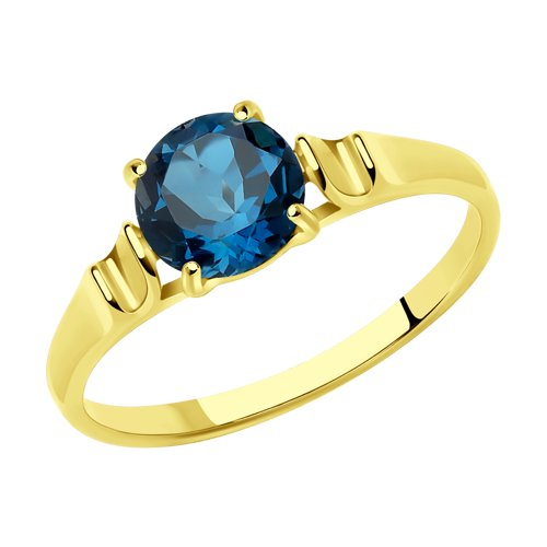 Кольцо из желтого золота с синим топазом (714488-2) - фото