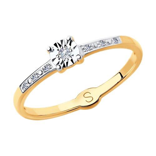 Кольцо из комбинированного золота с алмазной гранью с бриллиантами (1011713) - фото